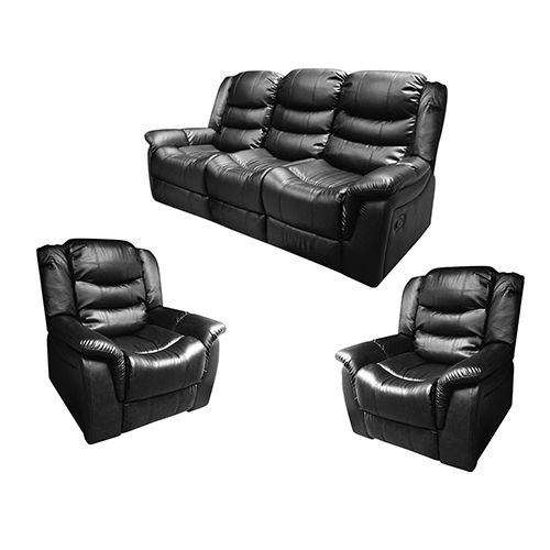 AVON  Black Recliner Sofa 3+1+1 Seater Couch