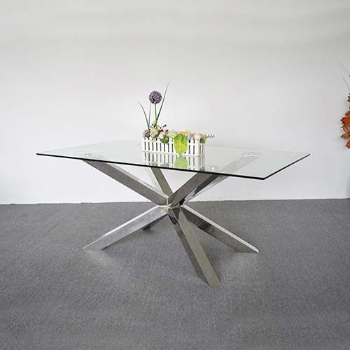 JOVAS STAINLESS STEEL GLOSSY DINING TABLE