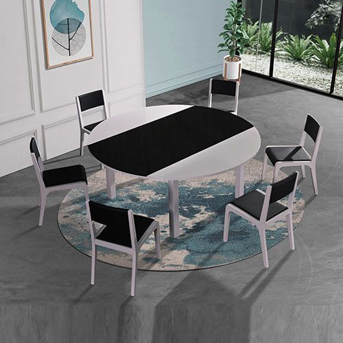 BELBORA GLOSSY BLACK AND WHITE DINING TBL & 6 CHAIRS