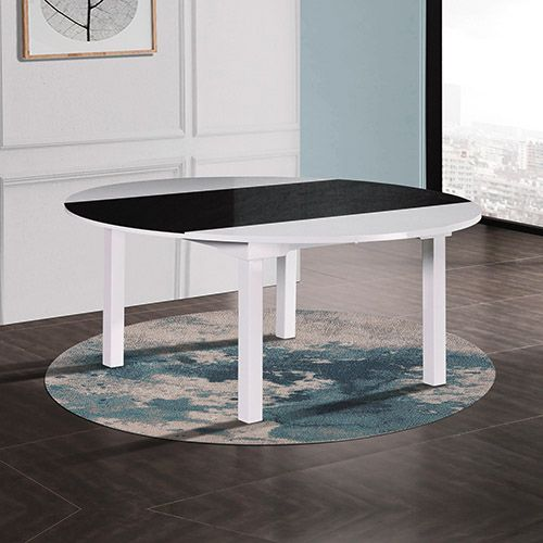 BELBORA GLOSSY BLACK AND WHITE DINING TABLE