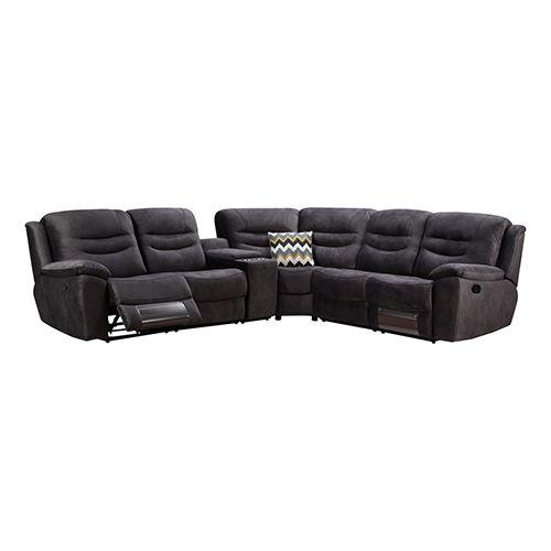 TRAVON Dark Grey Corner Recliner Sofa